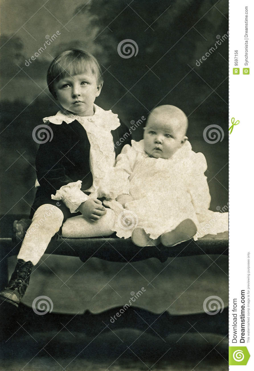 Boy And Baby In The Early 1900s Stock Photo Image Of