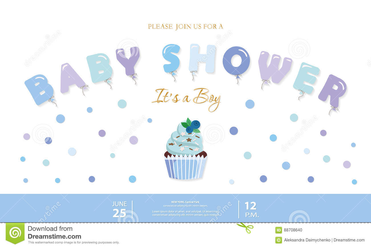 Boy Baby Shower Template. Party Invitation Card With Balloon Letters