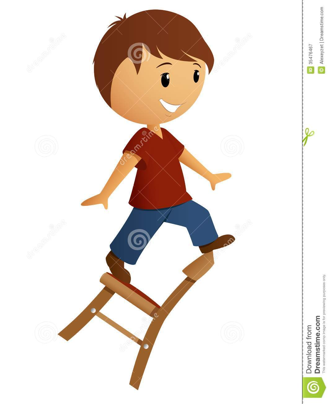 Boy balance on the chair stock vector. Illustration of ...