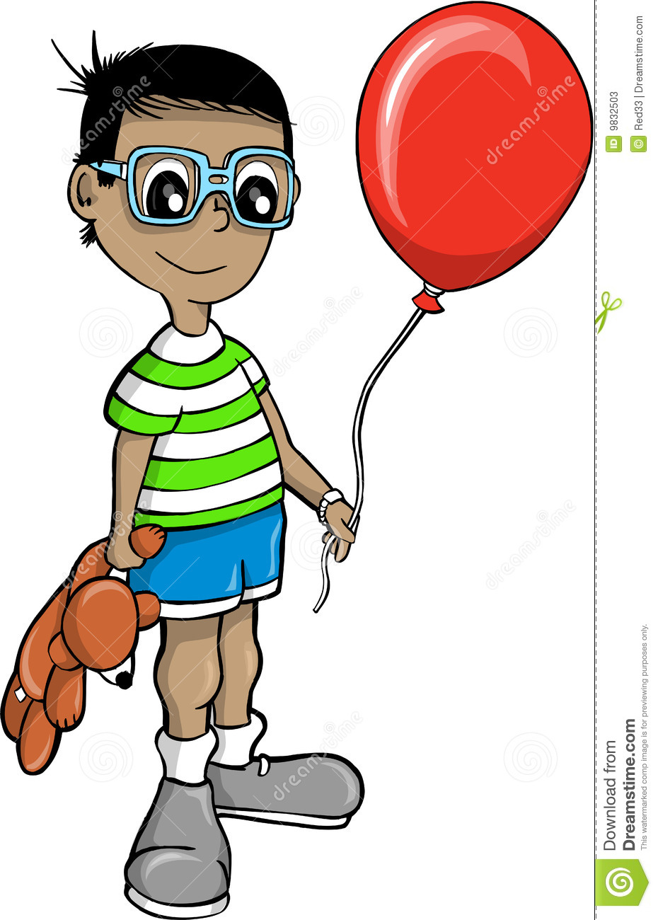 Boy With Balloon Vector Illustration Stock Photos - Image: 9832503