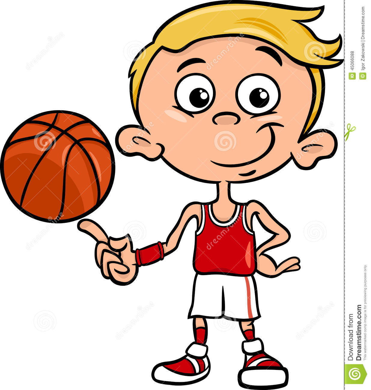 Cartoon Characters Playing Basketball : Boy basketball player cartoon illustration stock vector