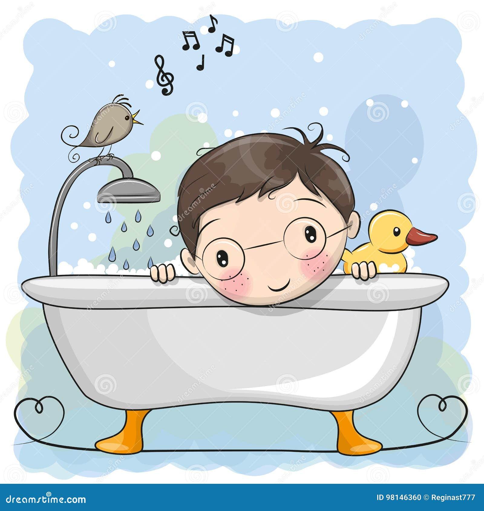 Cute Little Boys Taking Bath In Bathtub Full Of Foam