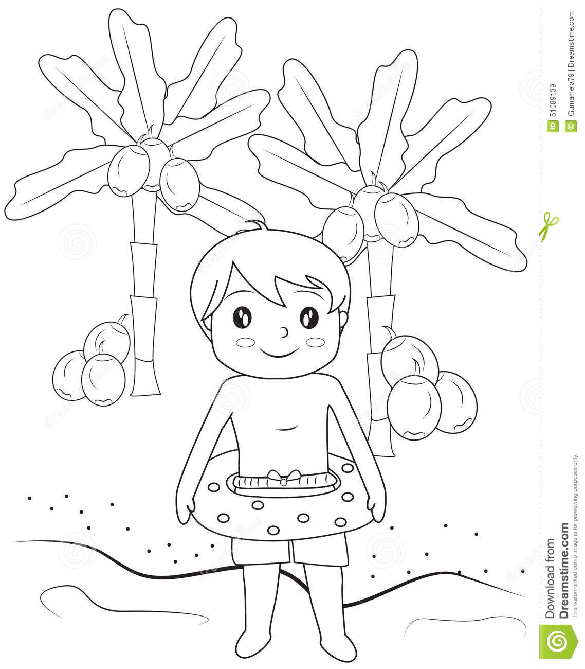 Boy In The Beach Coloring Page Stock Illustration - Illustration of ...