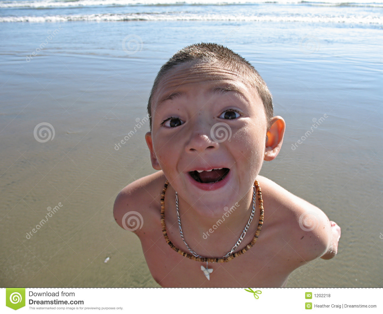 Boy at the Beach: Wide Angle Headshot