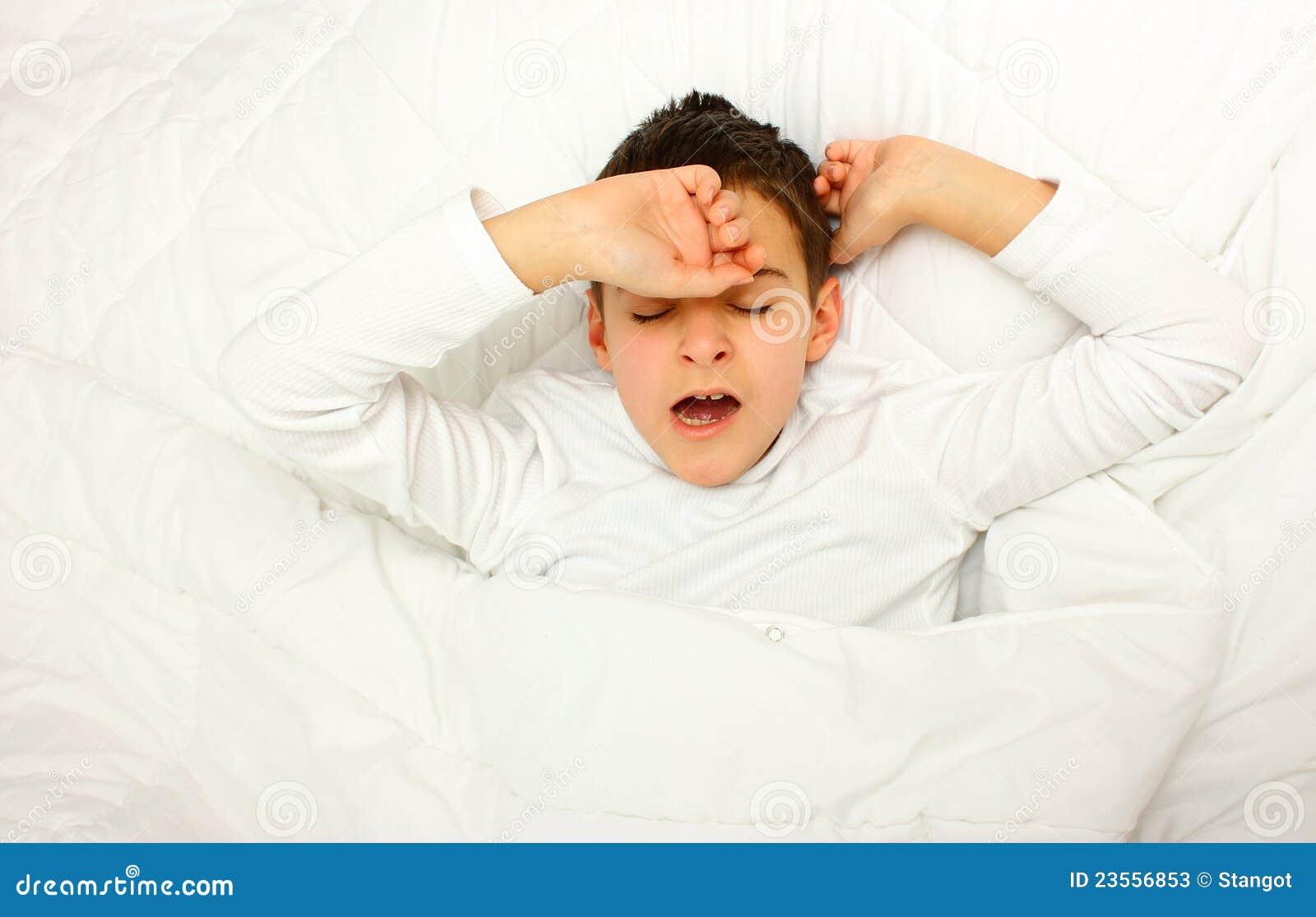 Boy In Bed Yawn Stock ... Girl Yawn Clipart