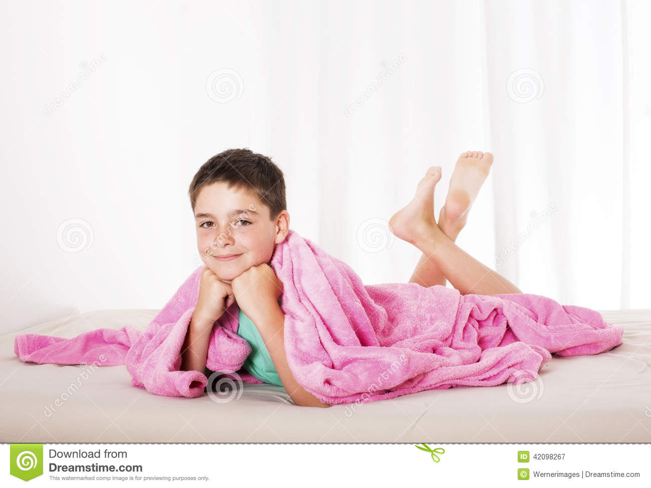 Comfortable Bed Sheets Boy In Bed Stock Photo Image 42098267