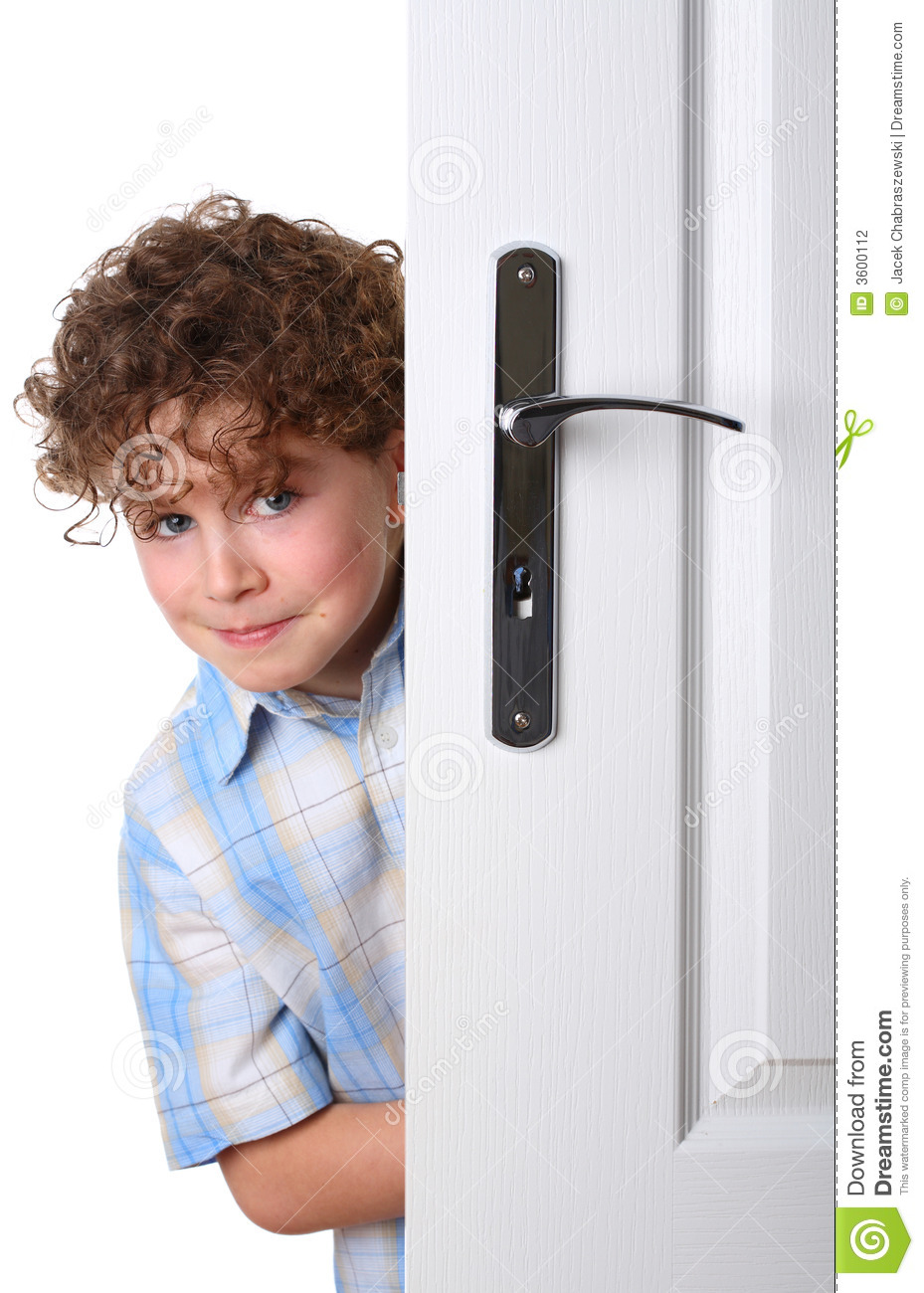 Boy Behind The Door Stock Photography - Image: 3600112