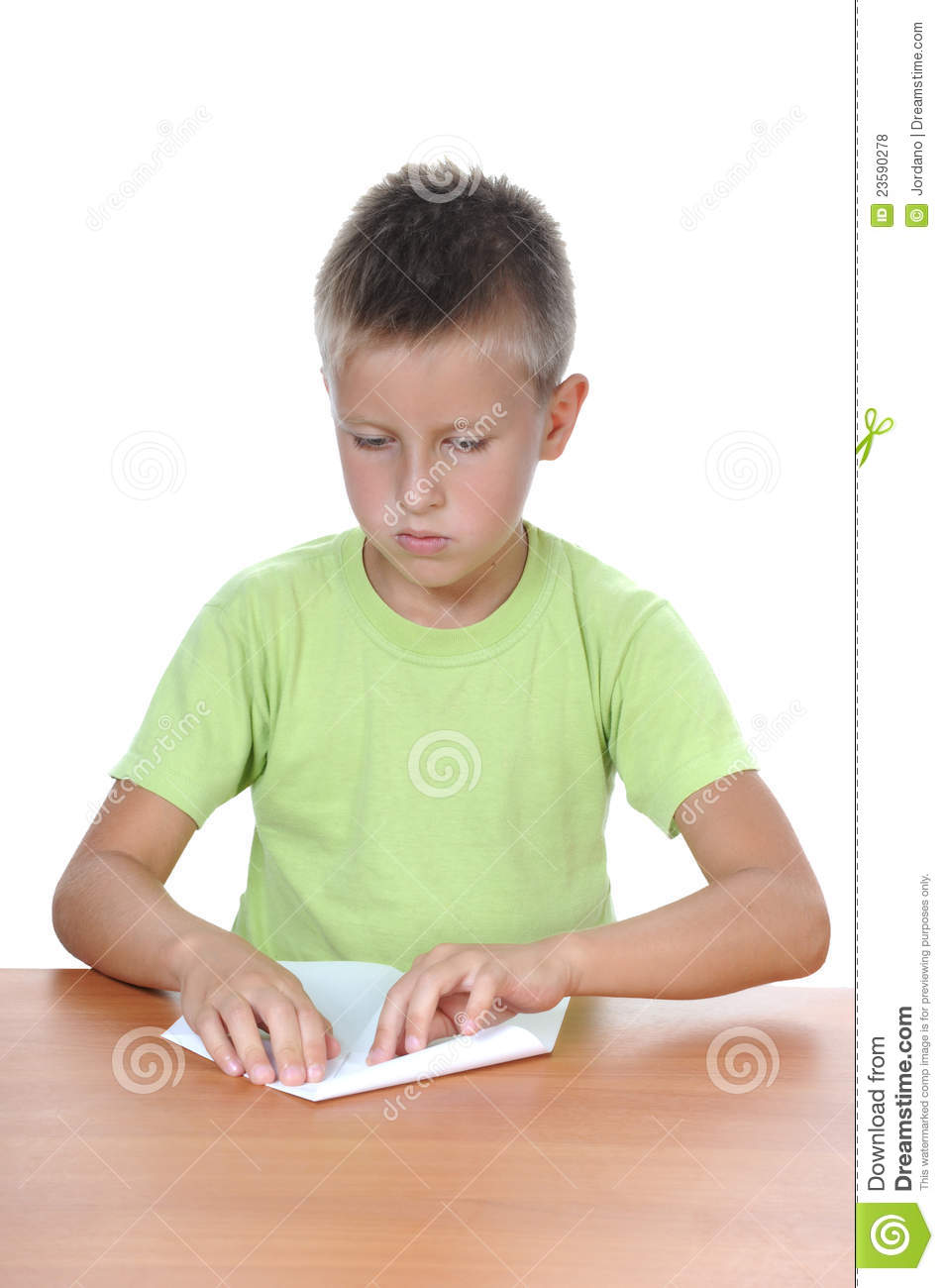 the boy behind a table over white stock photo image of classroom