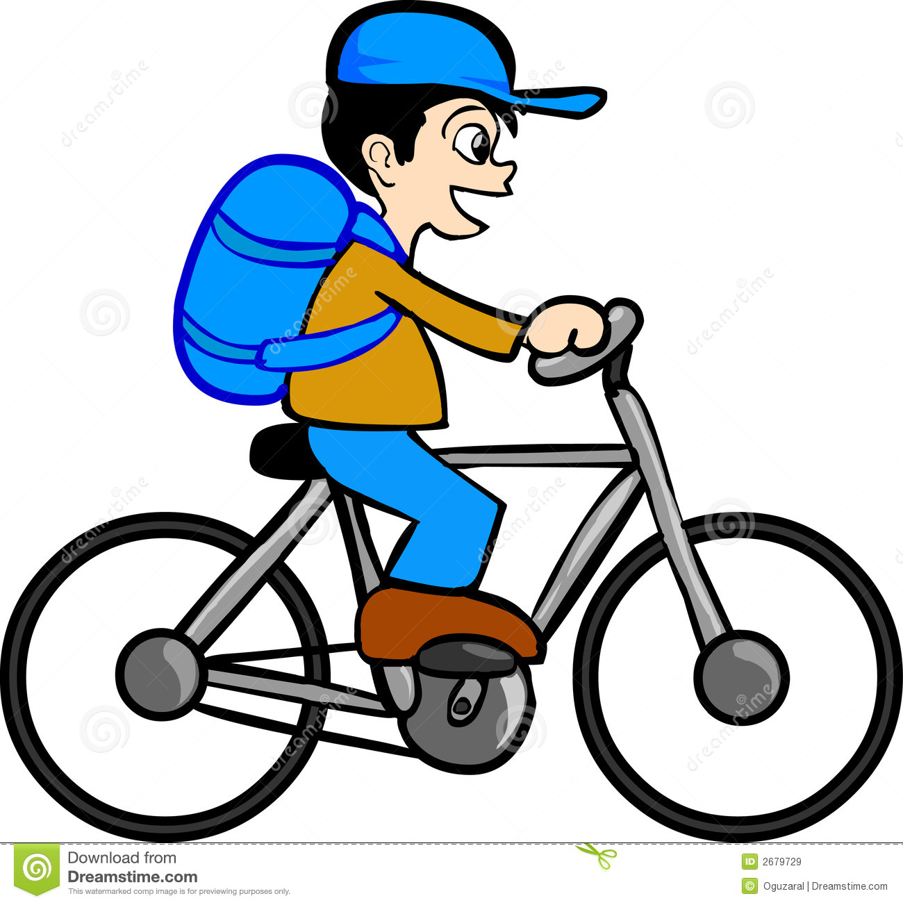 Boy With Bicycle Stock Vector Image Of Bike Drawing