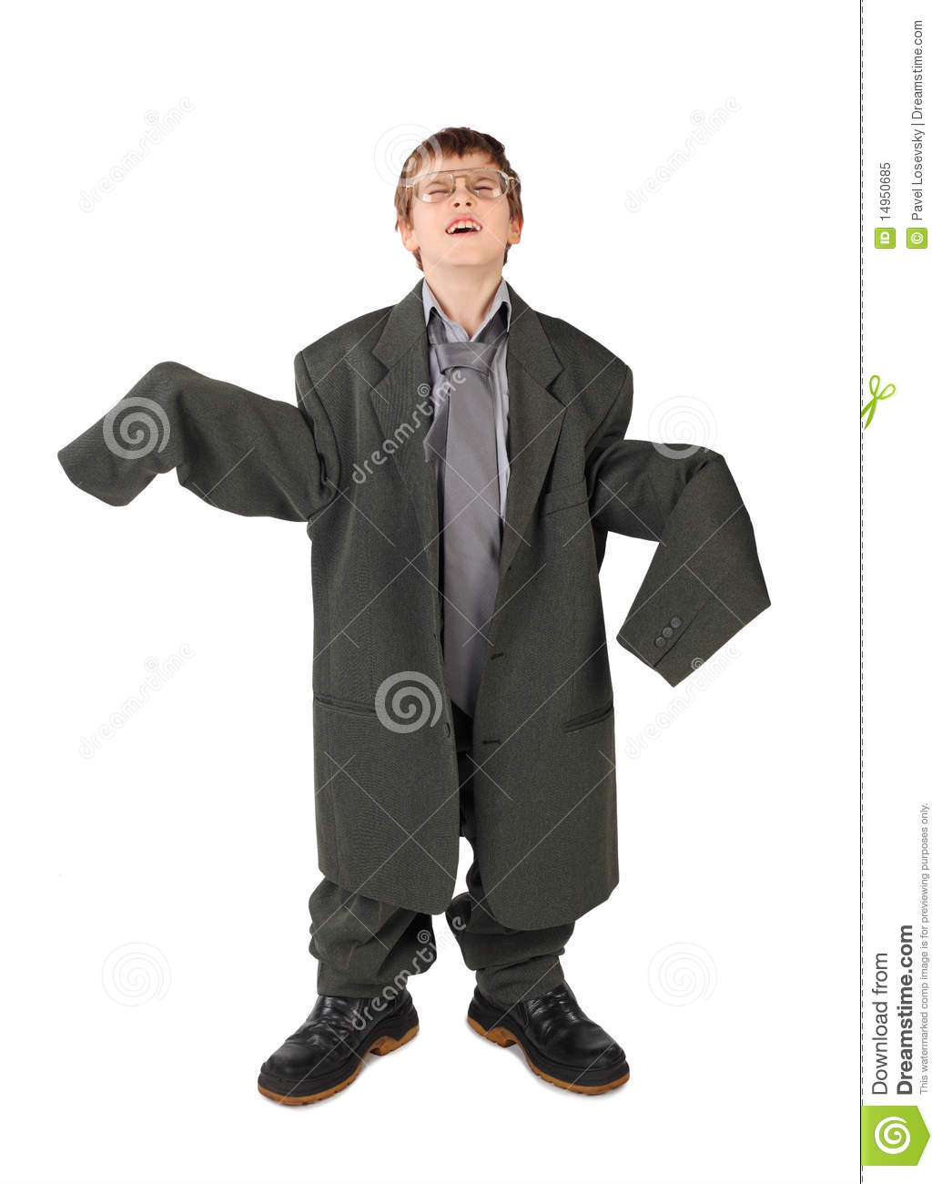 Boy In Big Mans Suit Boots And Glasses Floor Royalty