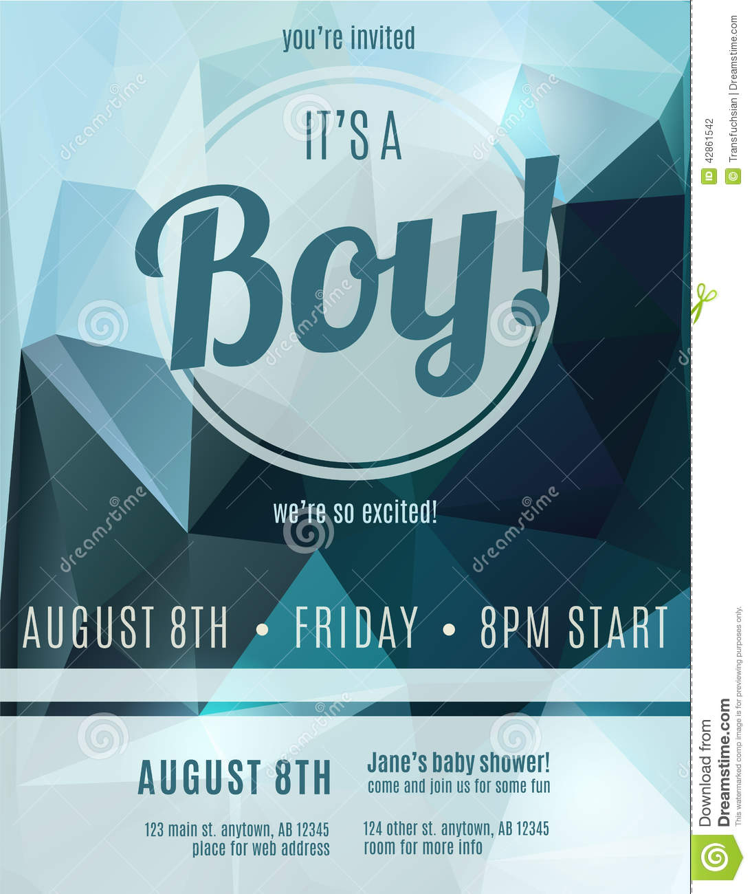 Boy Birth Announcement Flyer Template Stock Vector Image