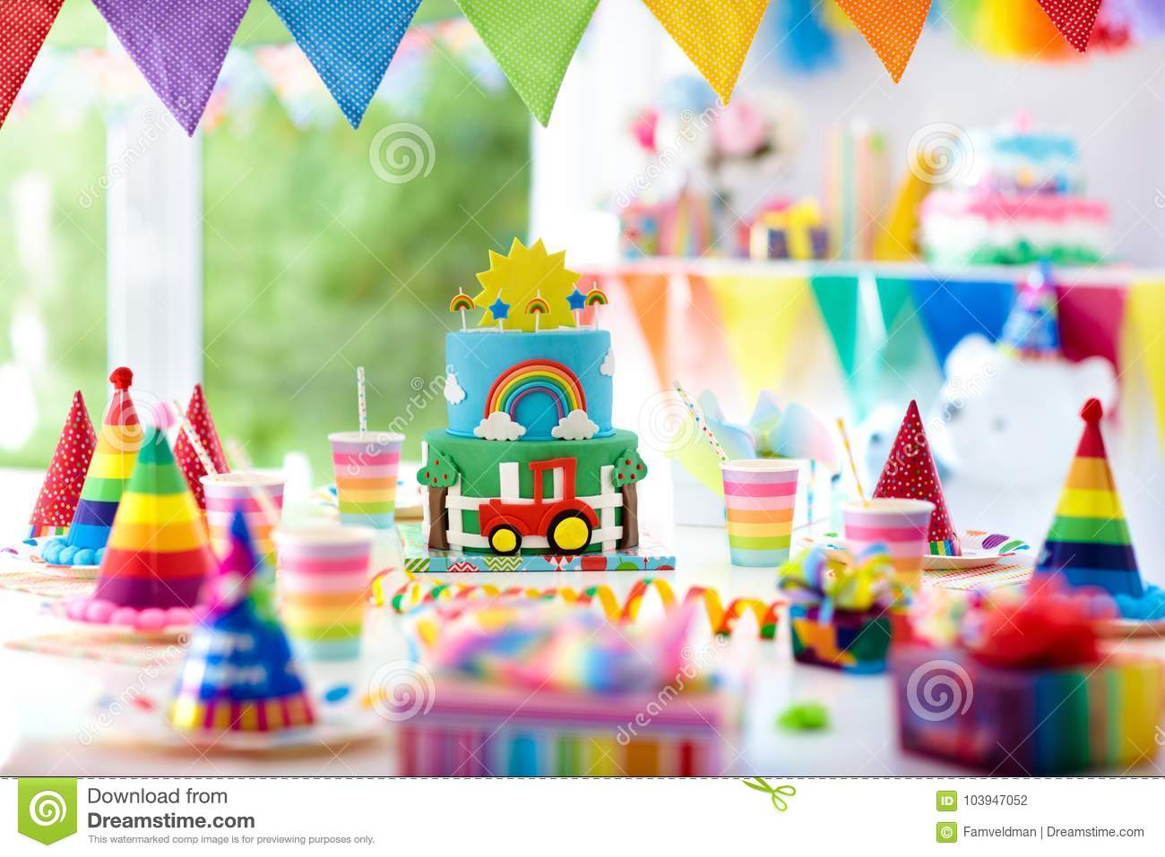 Boy Birthday Cake For Little Child Kids Party Stock Photo Image