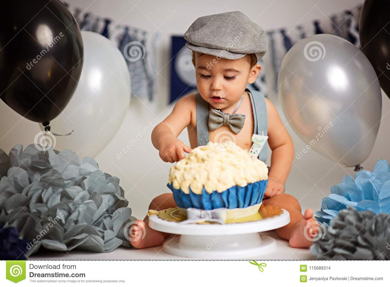 Peachy Boy Birthday Cake Smash Stock Photo Image Of Close 115689314 Funny Birthday Cards Online Elaedamsfinfo