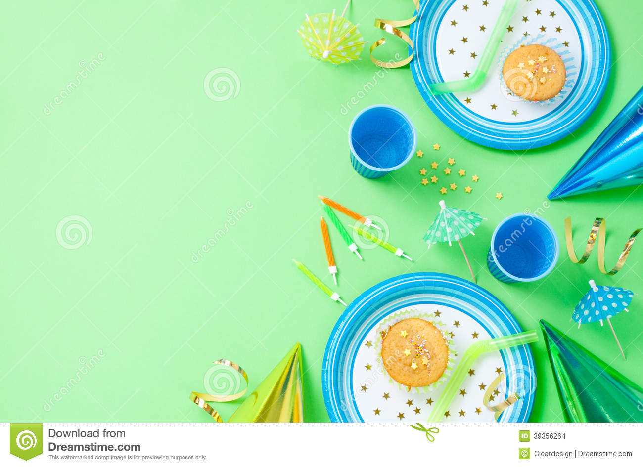Boy birthday decorations on green table stock photo for Background decoration images