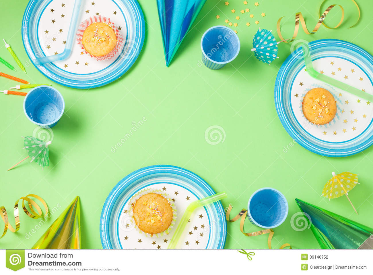 Boy Birthday Or Party Green Table Setting Stock Photo ...