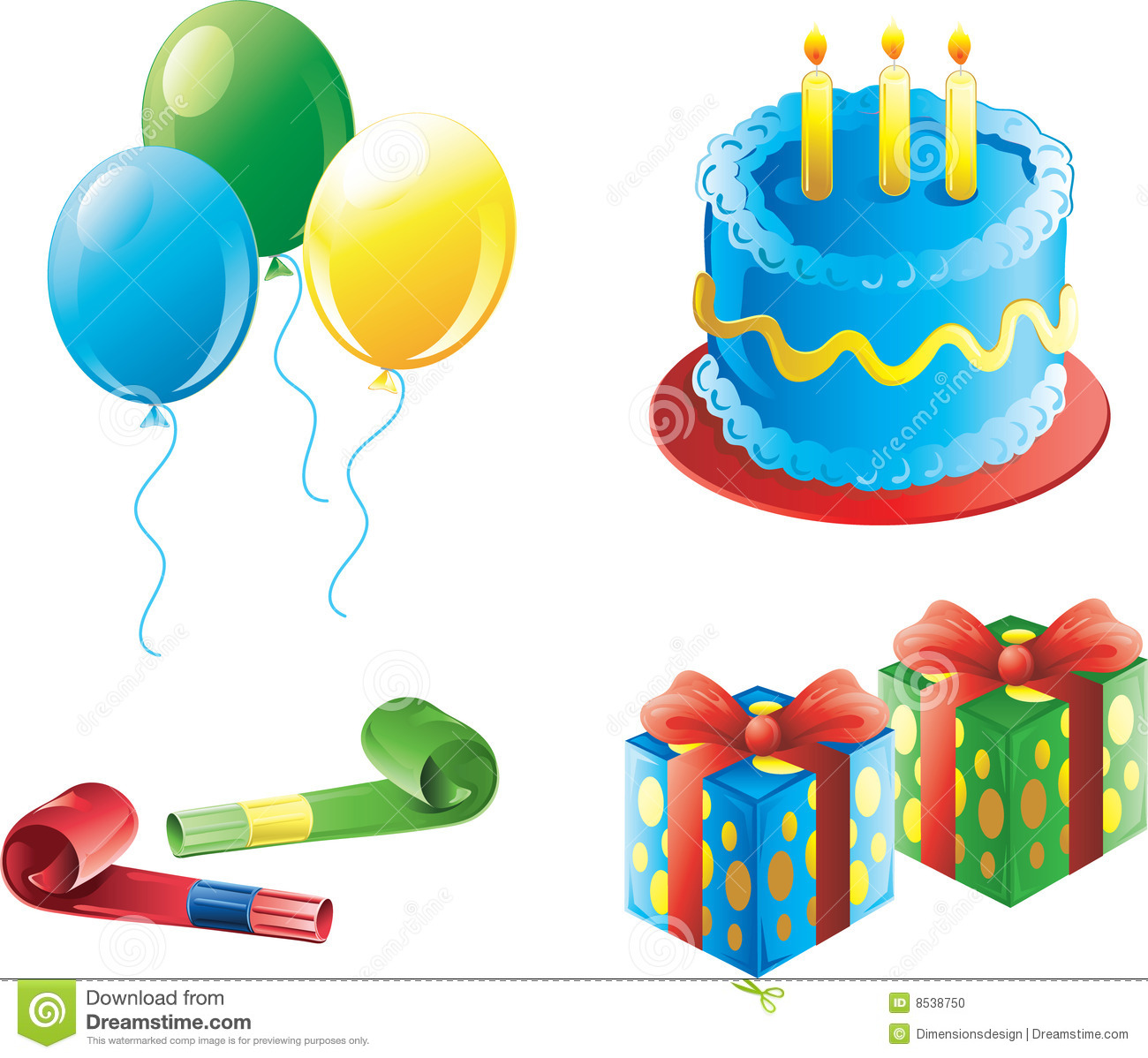 Boy Birthday Party Icons Stock Photo - Image: 8538750