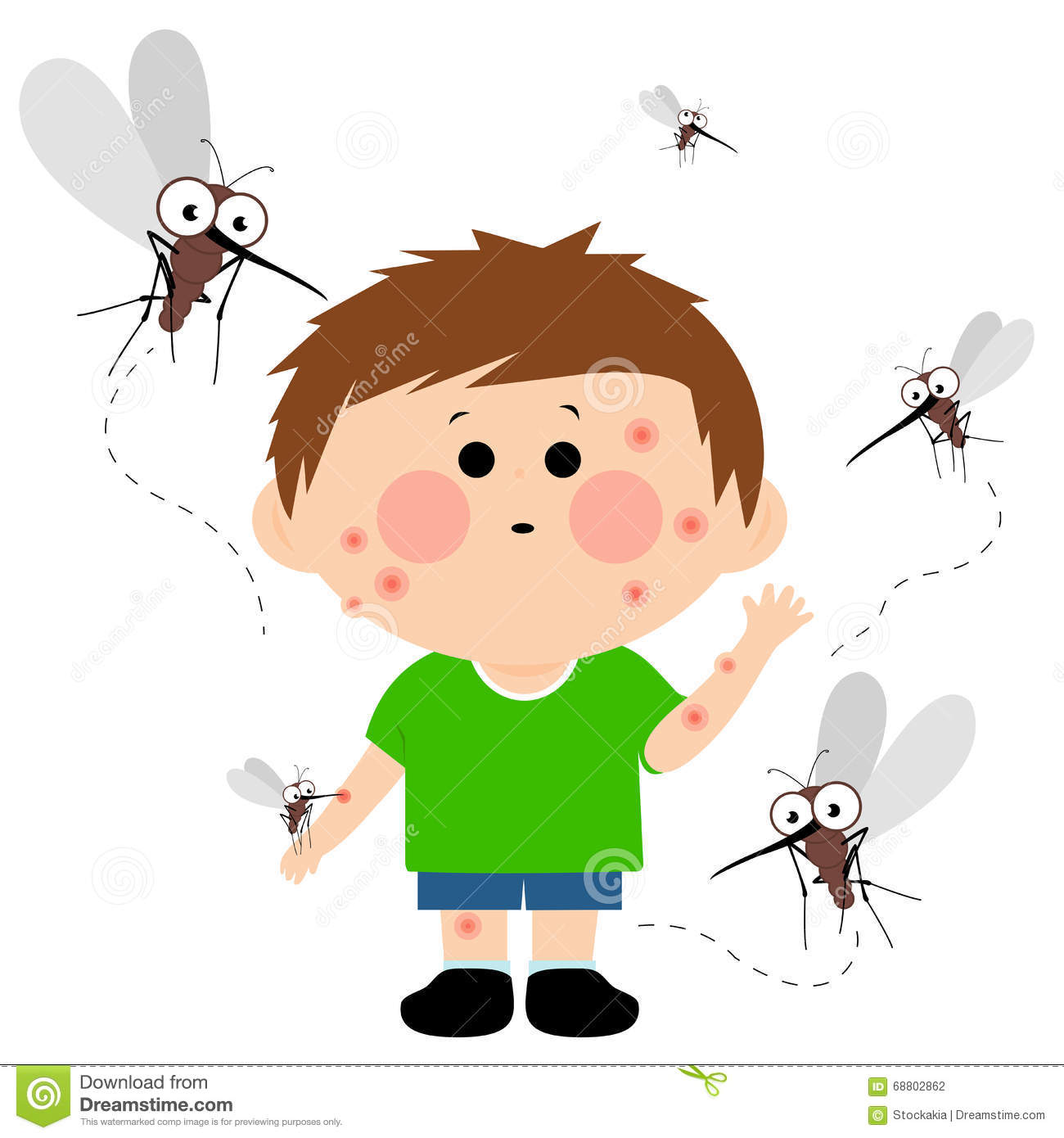 Boy Bitten By Mosquitoes Stock Vector Illustration Of