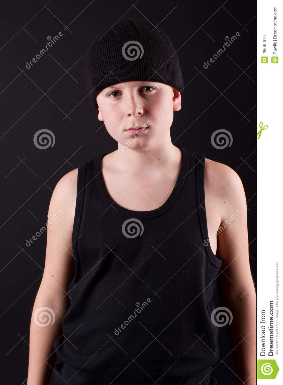Boy in a black T-shirt and a black hat