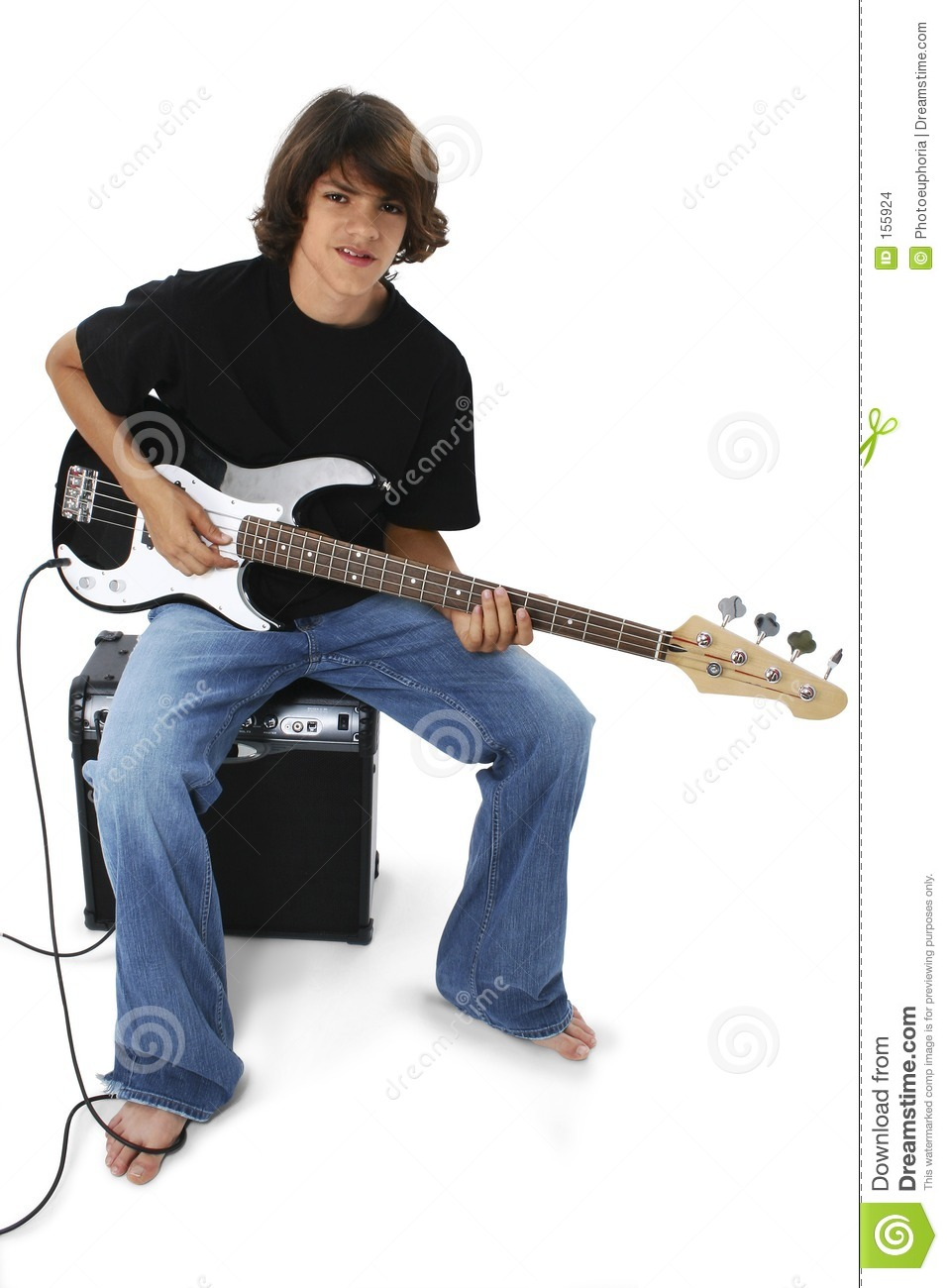 boy with black and white bass guitar sitting on amp stock images image 155924. Black Bedroom Furniture Sets. Home Design Ideas