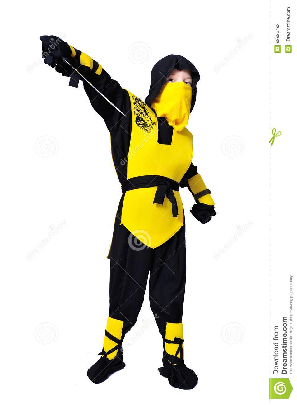 The seven-years old boy in black and yellow ninja suit with a ho