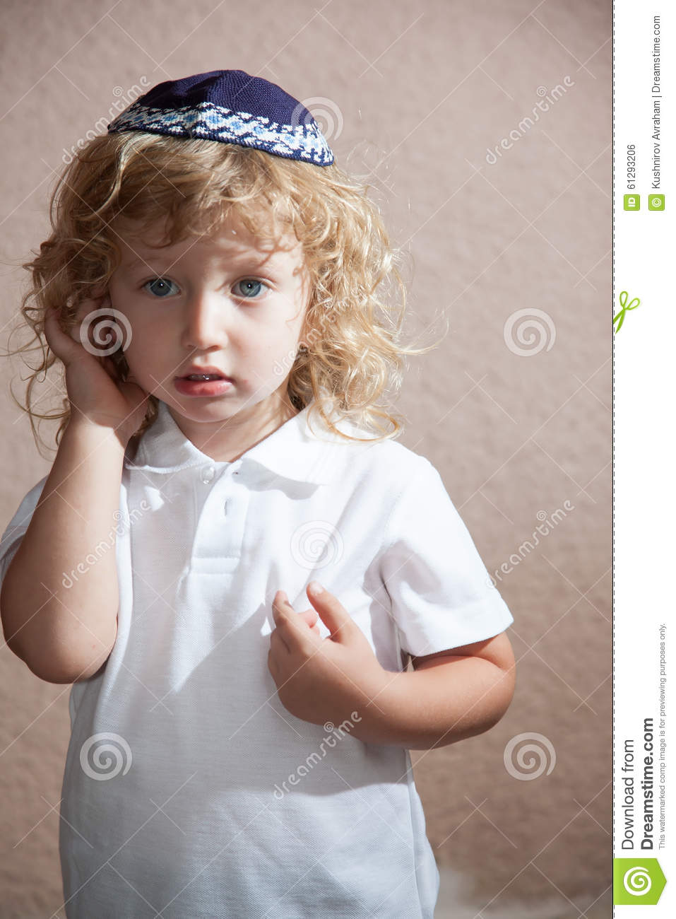The Boy With Blond Curls In The Jewish Yarmulke Stock