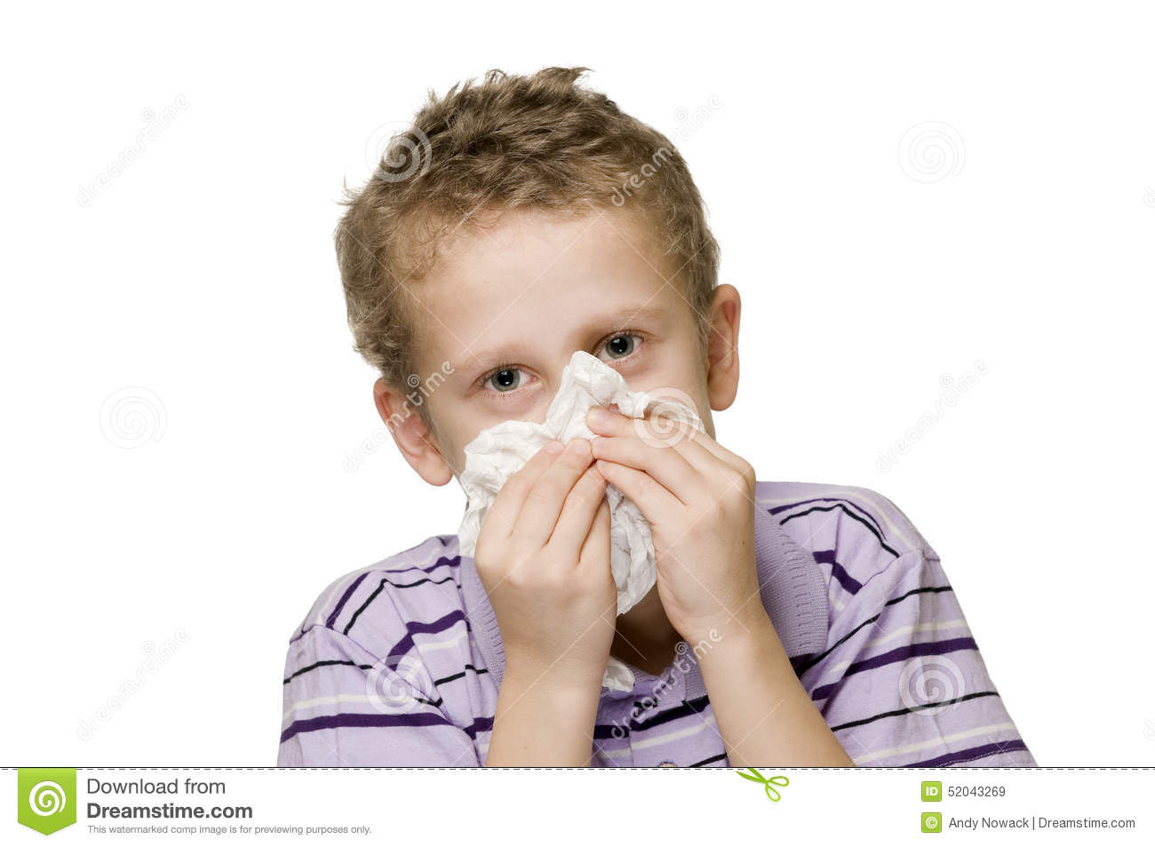 Boy blow nose two hands stock image. Image of keep ...