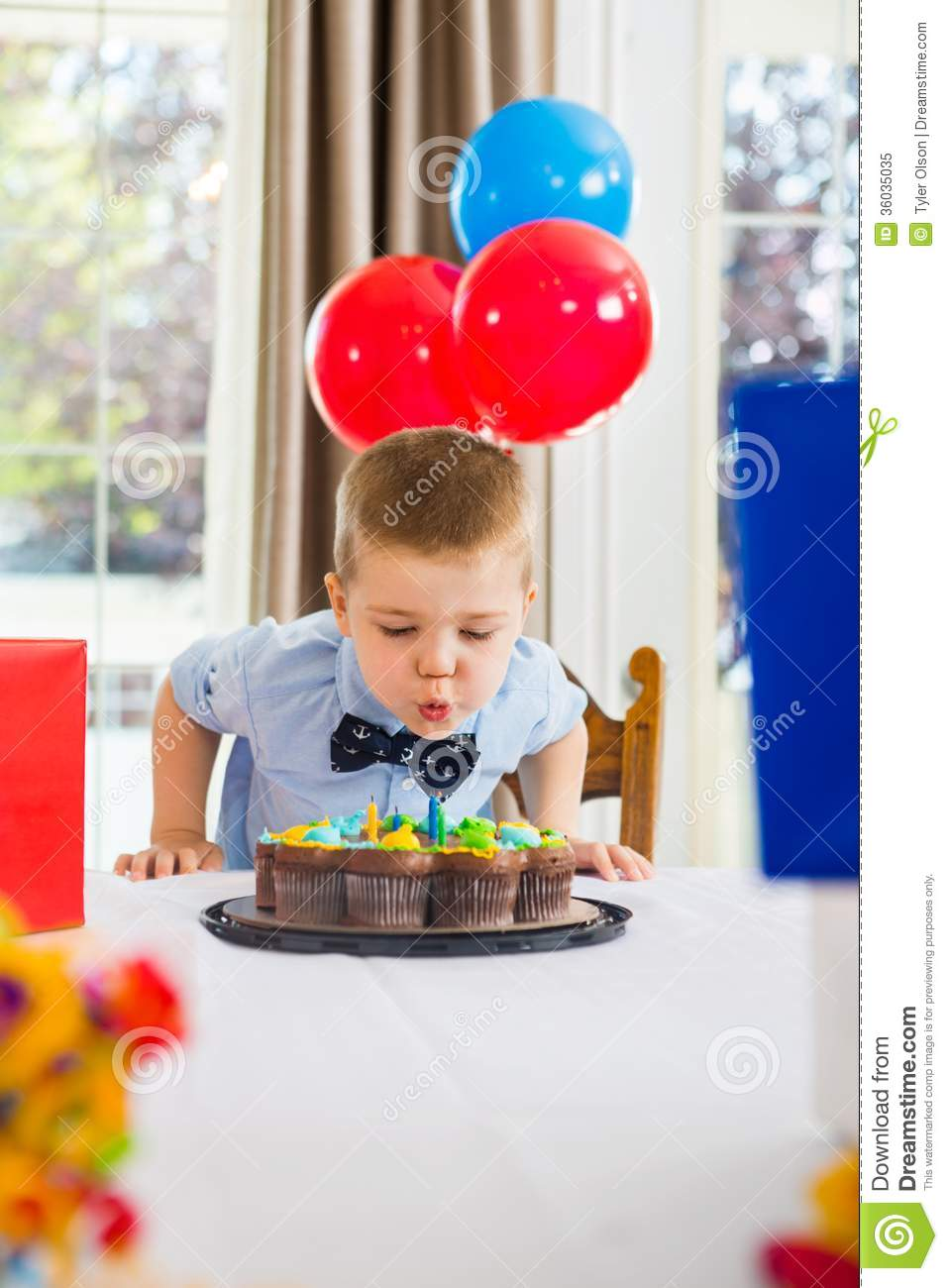 Child Blowing Out Birthday Cake Candles Party