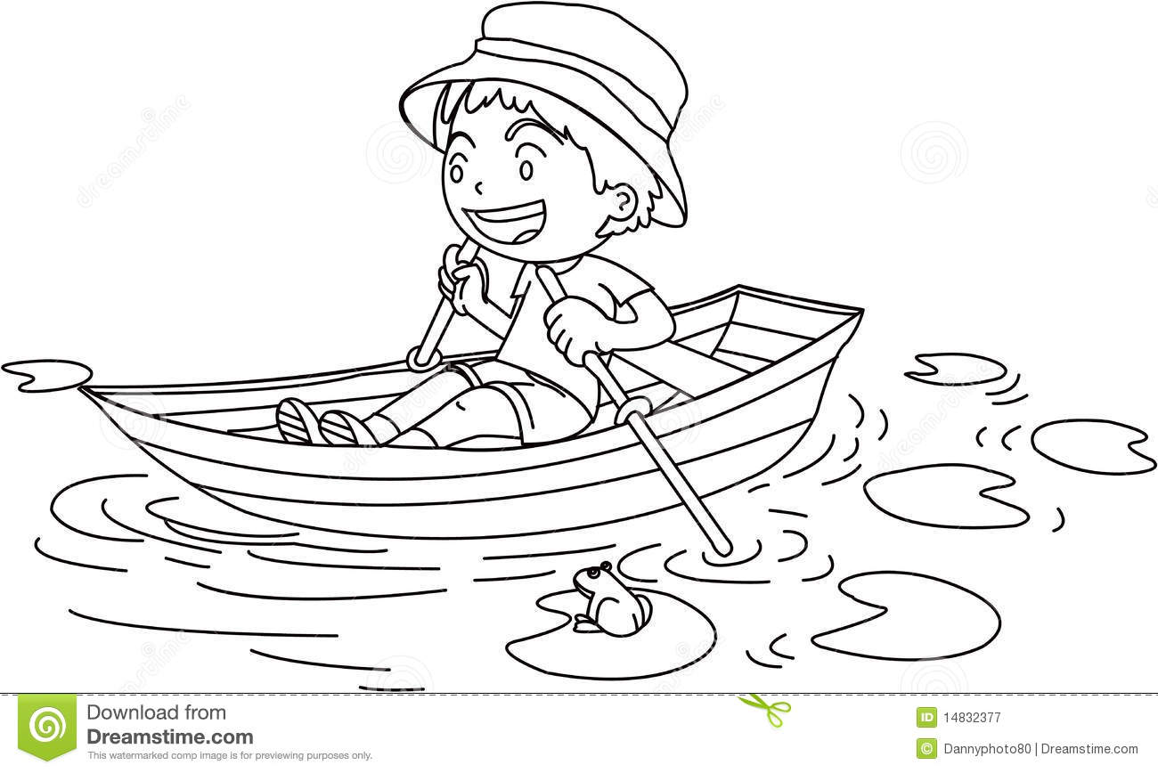 A Boy in a Boat stock vector. Illustration of watching - 14832377