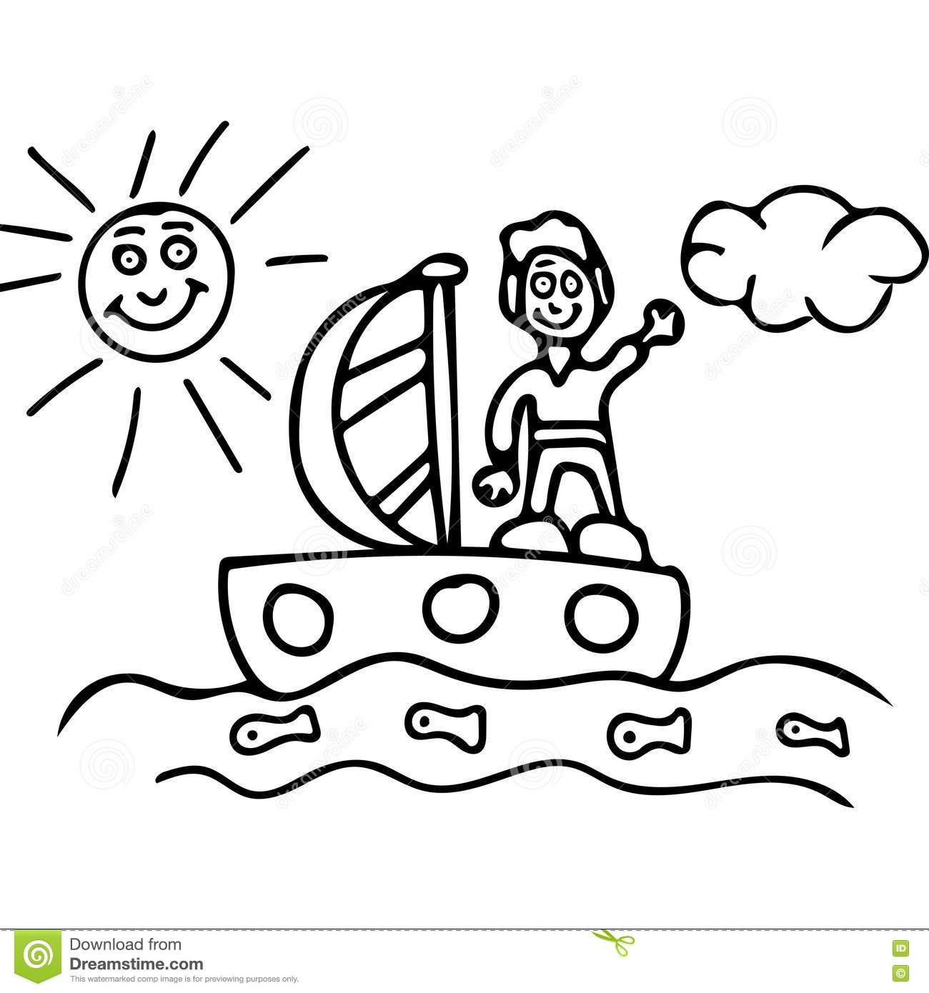 Boy On The Boat Kids Coloring Pages Stock Illustration