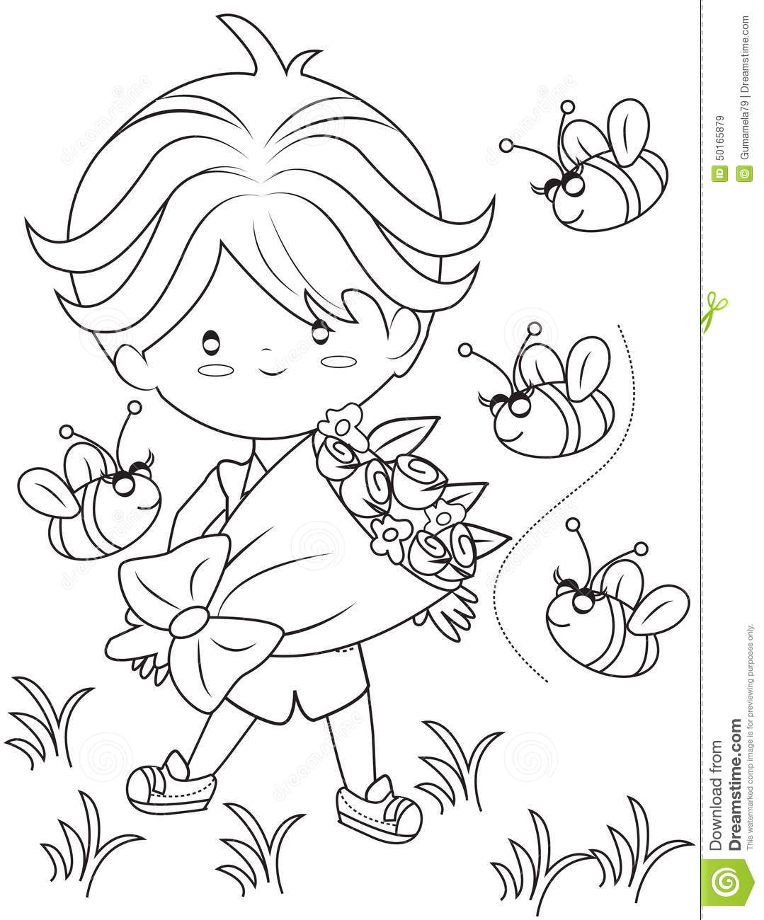 royalty free illustration download boy with a bouquet of flowers coloring