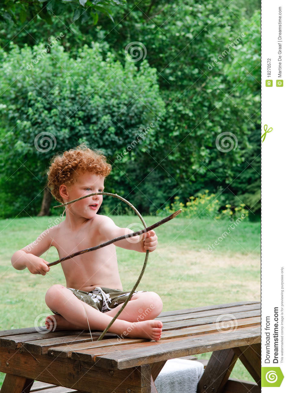 Boy With Bow And Arrow Stock Photo Image Of Curled