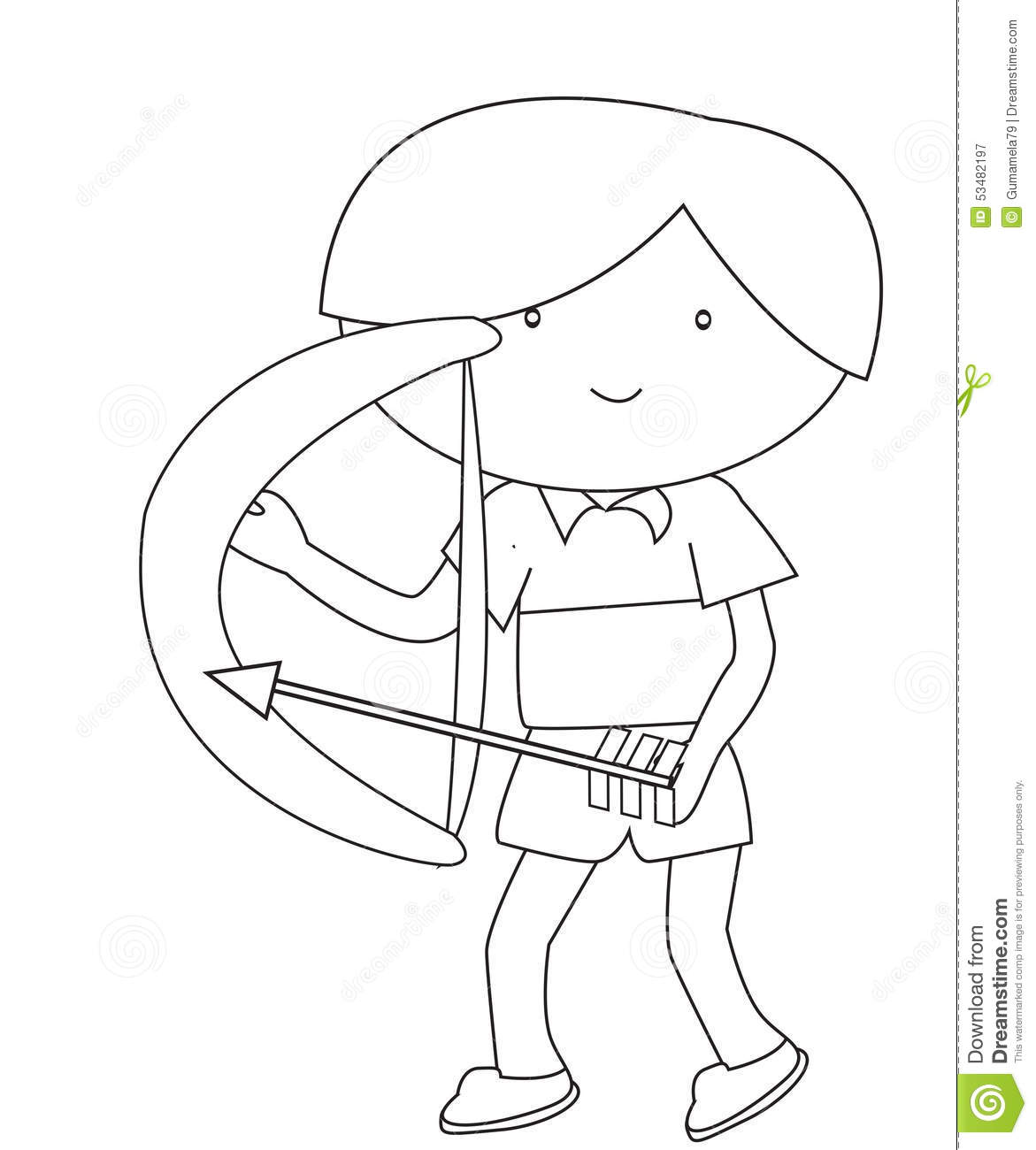 boy with a bow and arrow coloring page stock illustration image