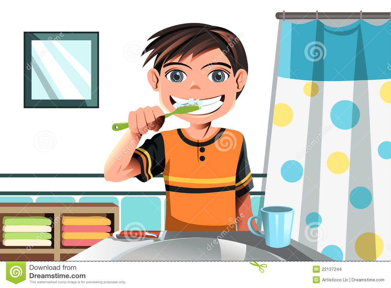 Boy brushing his teeth stock images image 22137244