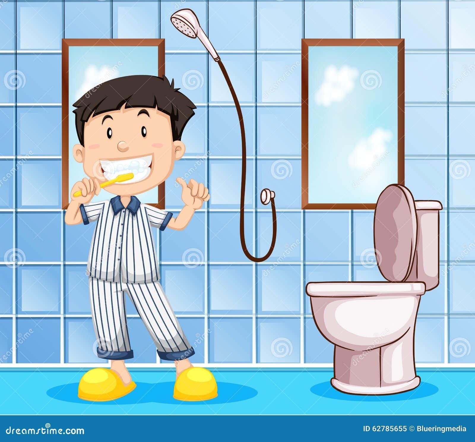 Go Bed And Bath: Boy Brushing Teeth In The Bathroom Stock Vector
