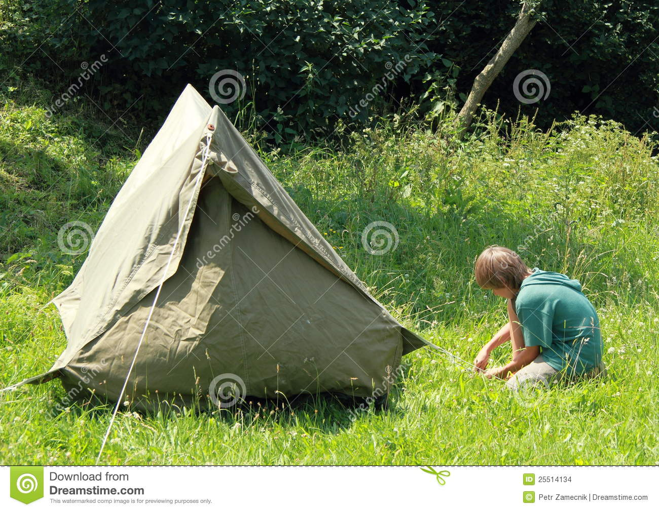 Boy Building An Old Tent Stock Photo Image Of Green