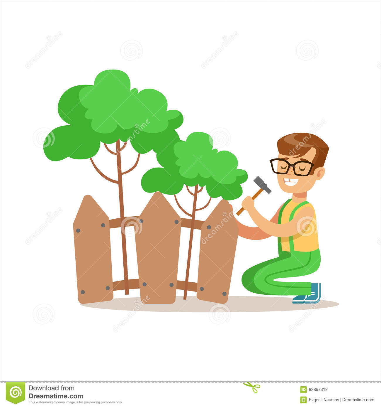 Download Boy Building Wooden Fence Around Plants Helping In Eco Friendly  Gardening Outdoors Part Of
