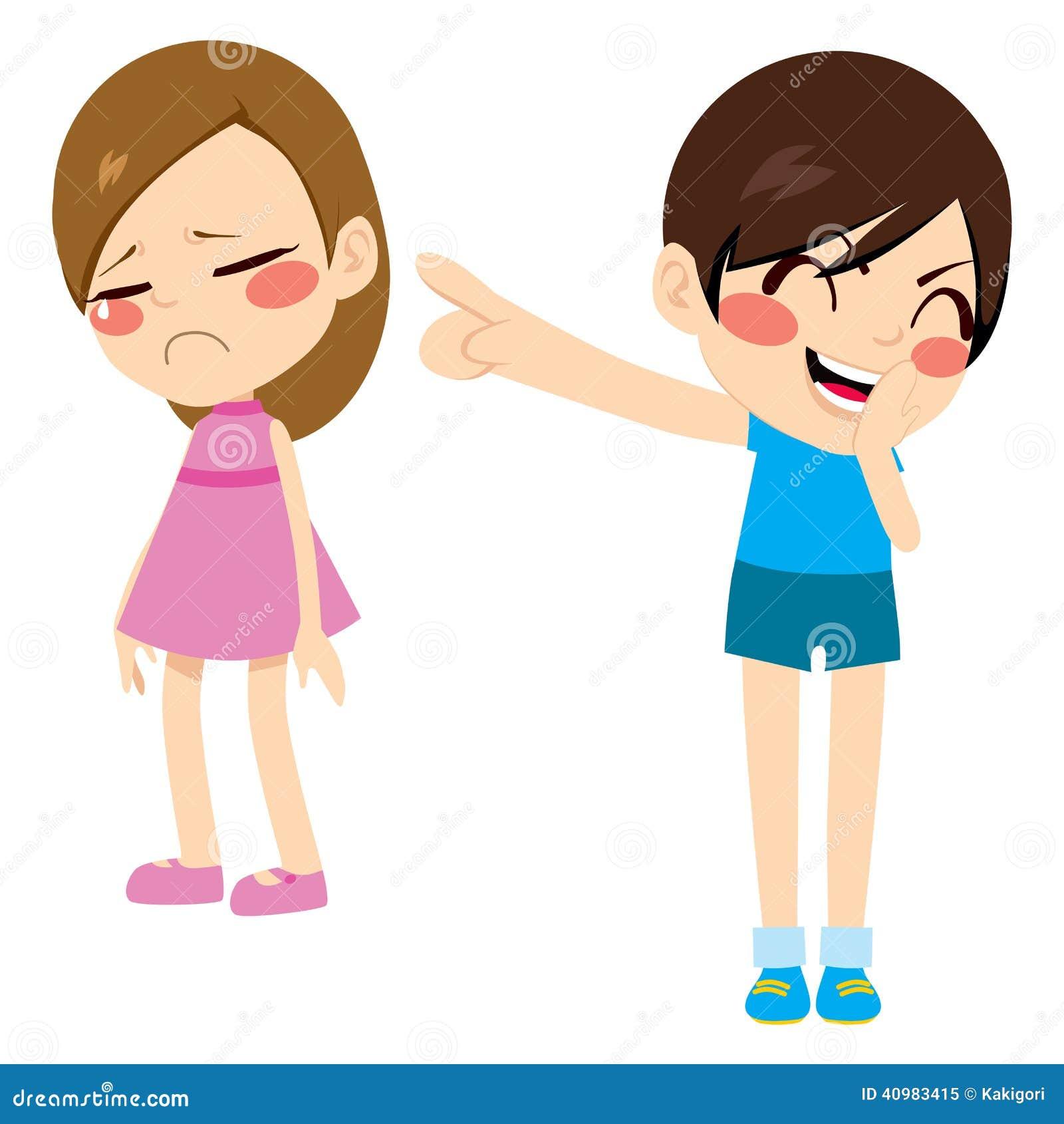Evil little boy kid bullying poor sad girl pointing finger laughing ...