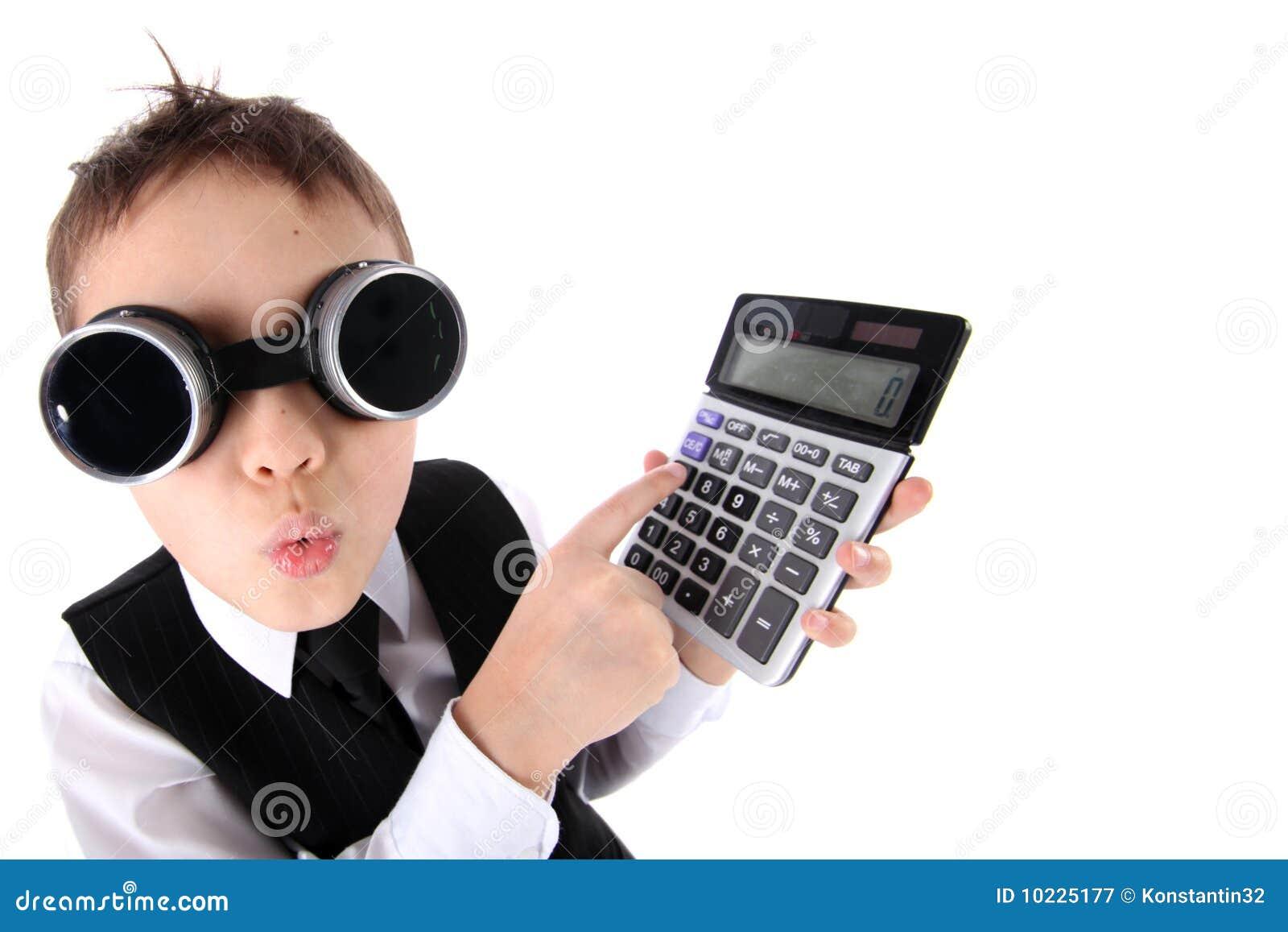 Boy with calculator