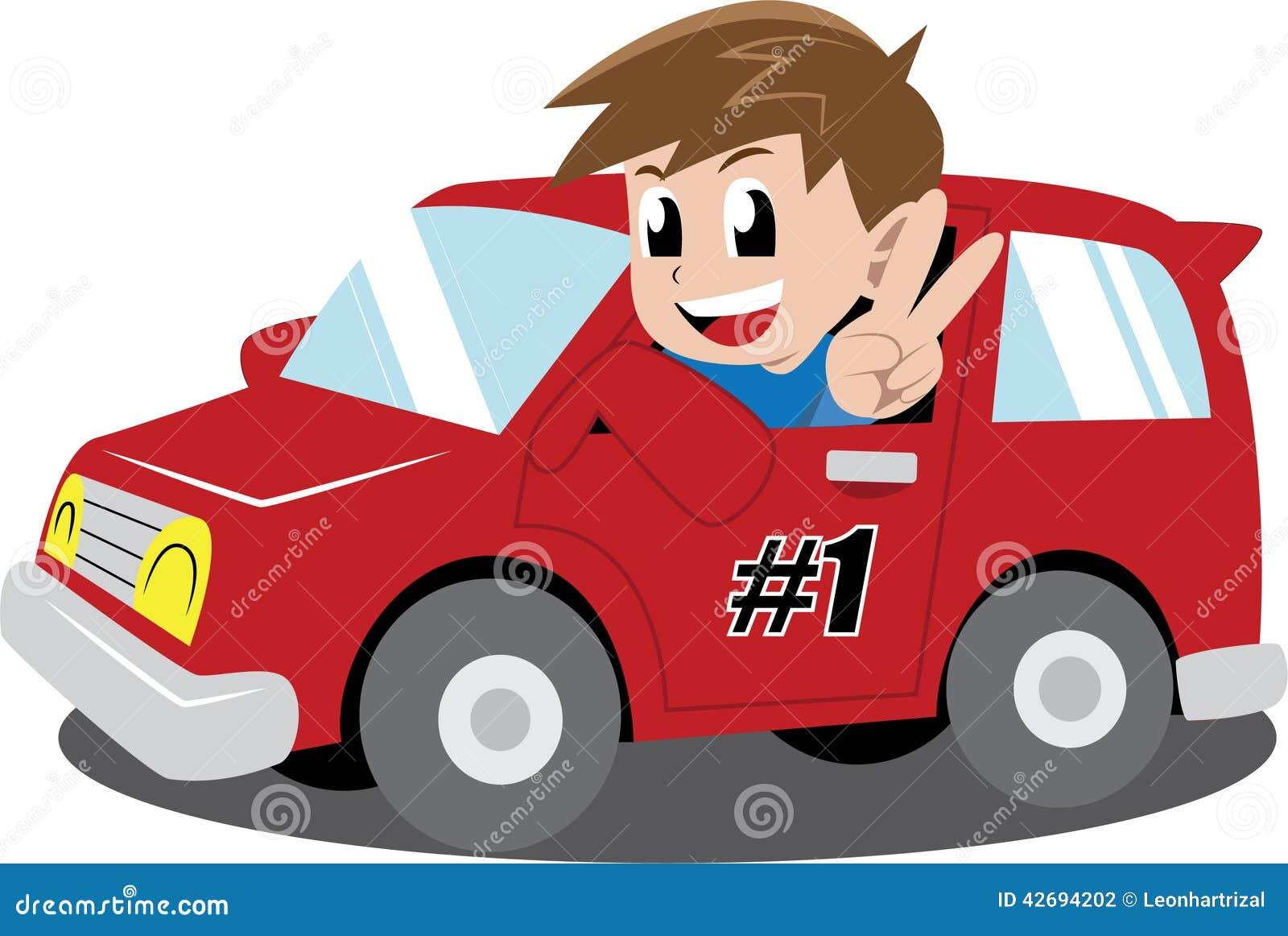 Boy In A Car Stock Vector Image 42694202