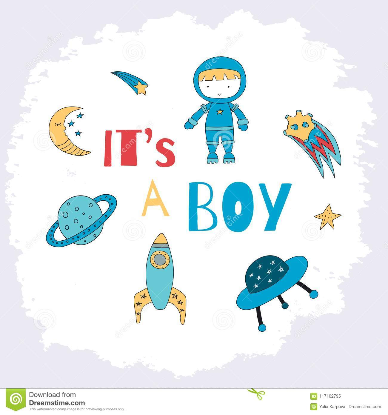 It is a boy card for a baby shower with a little astronaut, plan