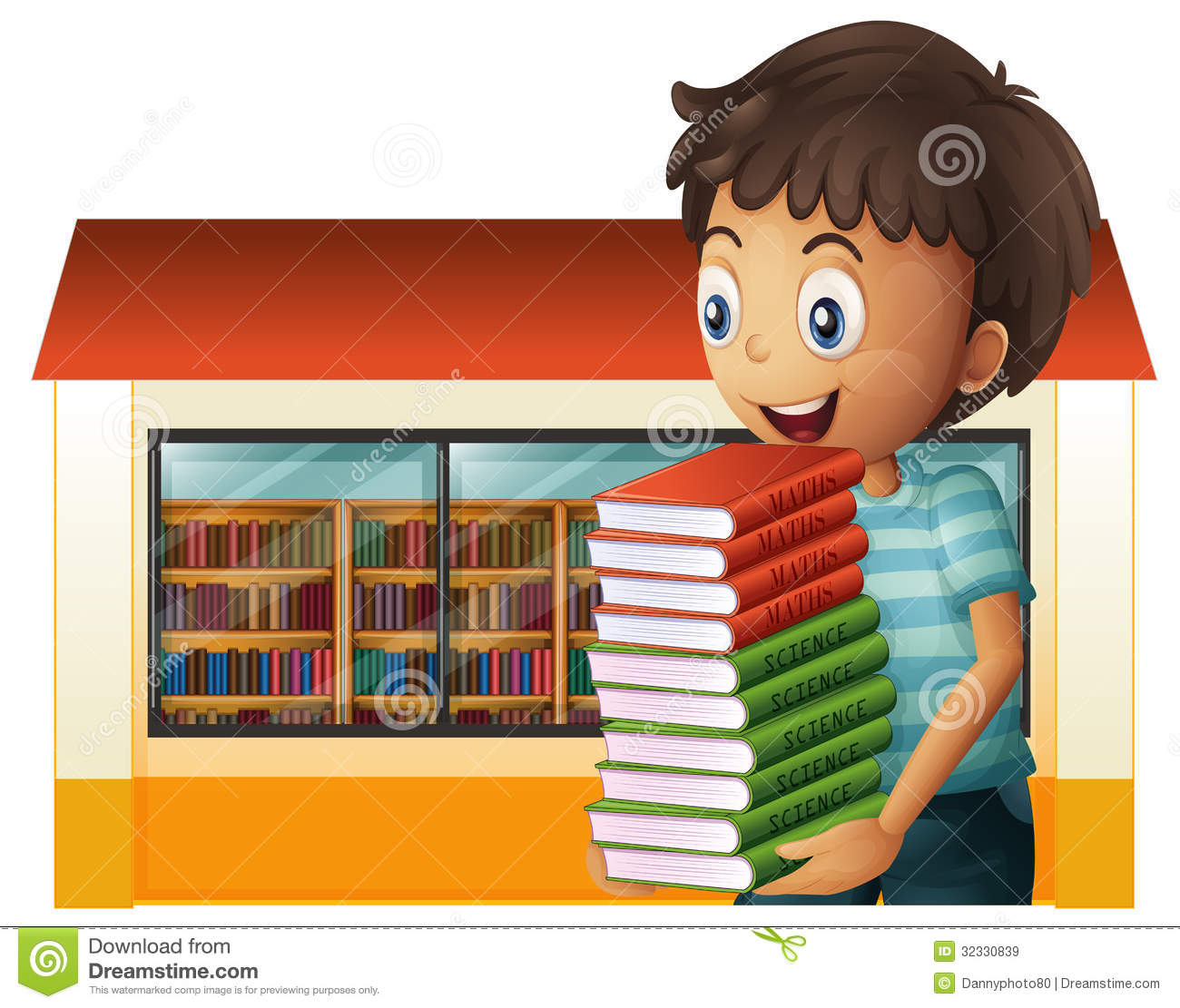 A Boy Carrying Books Outside The Library Stock Vector