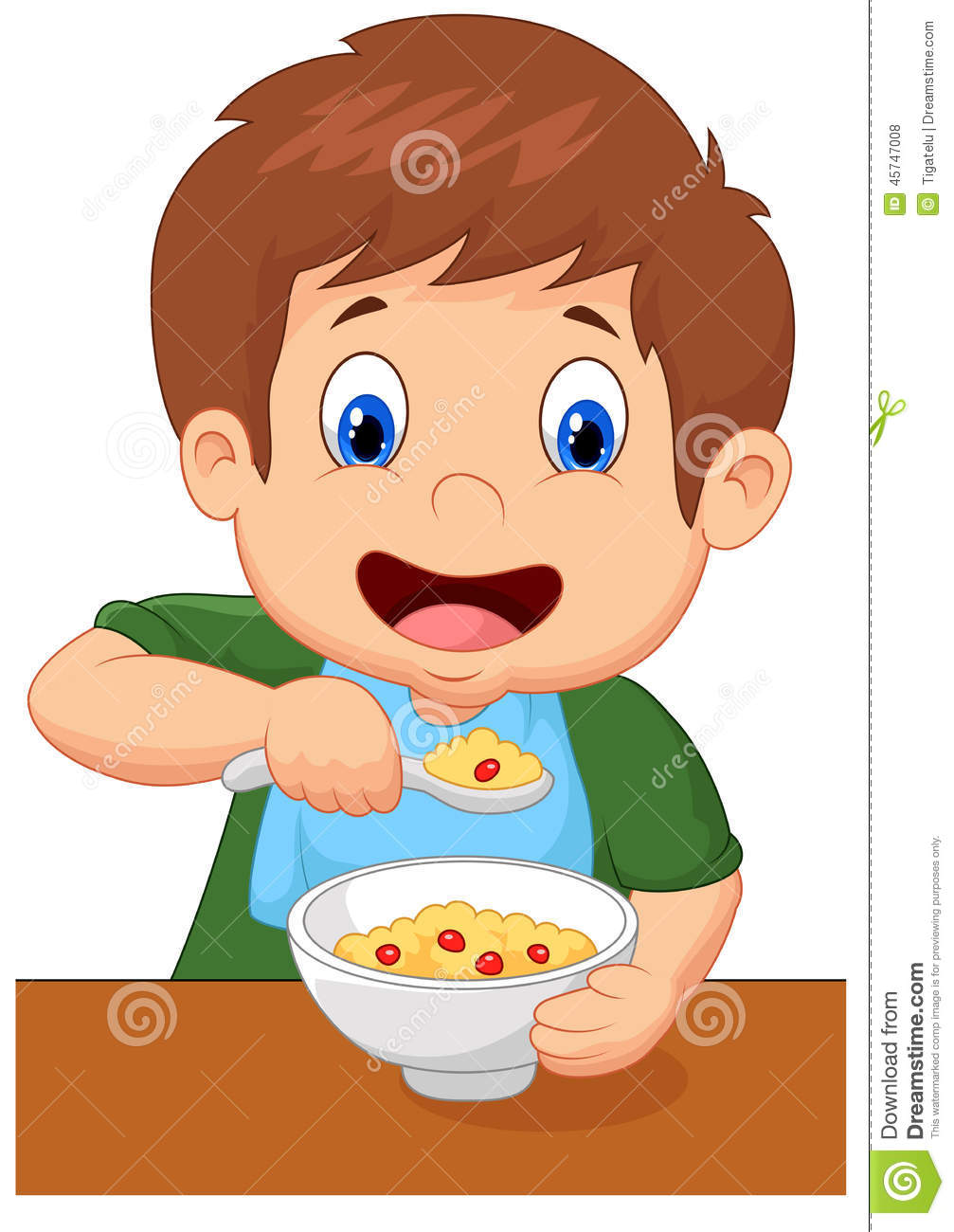Boy Cartoon Is Having Cereal For Breakfast Stock Vector