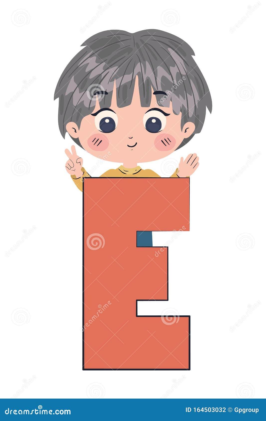boy cartoon mit alphabetbuchstaben vektordesign vektor