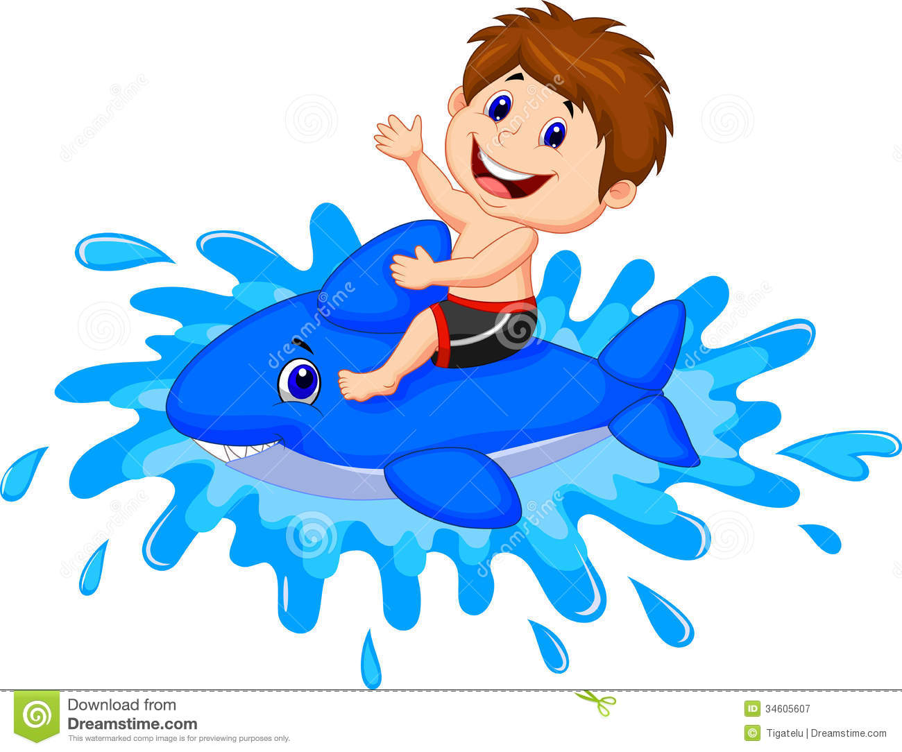 Boy Cartoon Playing With Swimming Toy Royalty Free Stock Photography ...