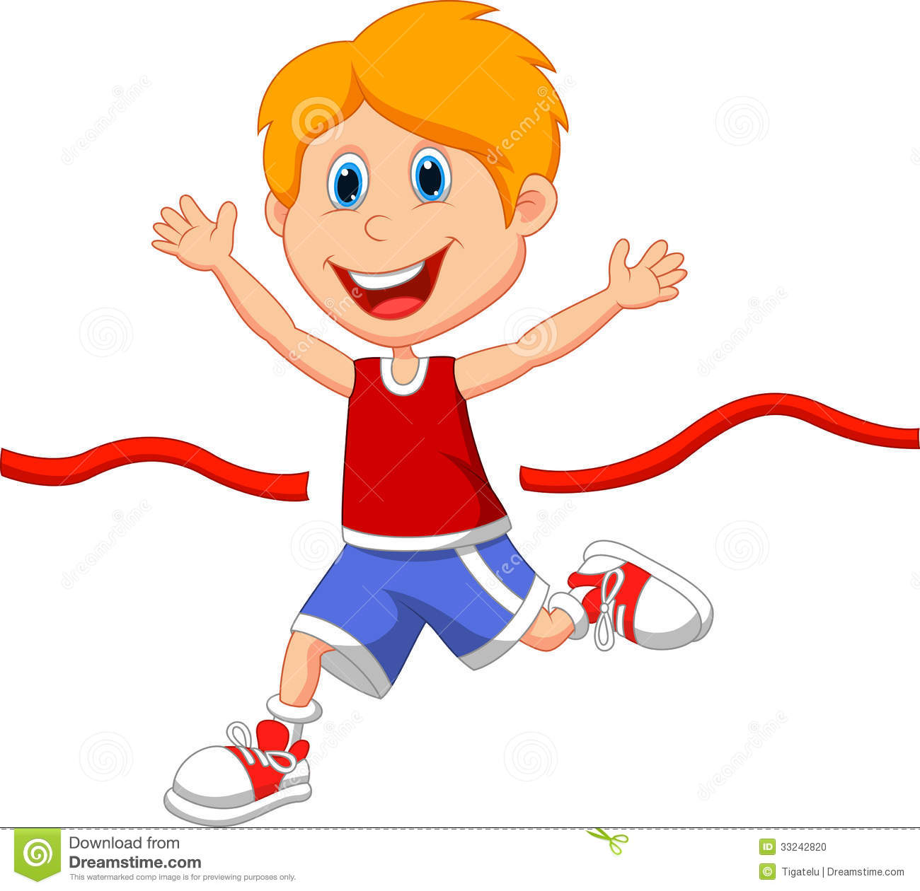 Boy Cartoon Ran To The Finish Line First Stock Photo - Image: 33242820