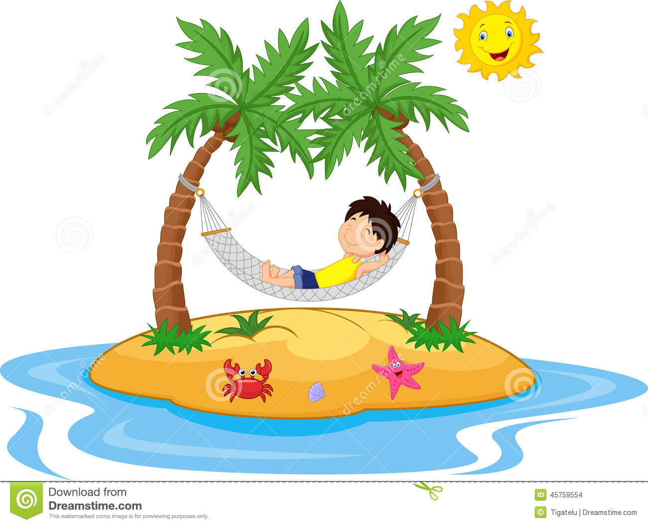 Boy Cartoon Relaxing In A Hammock Stock Vector - Image: 45759554