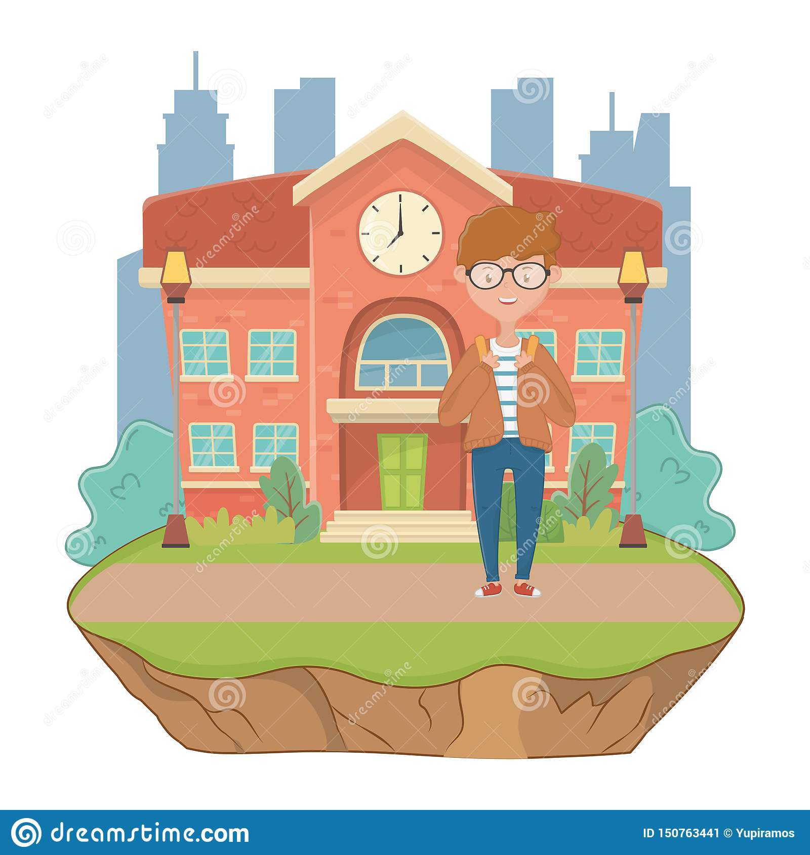 Boy cartoon of school design