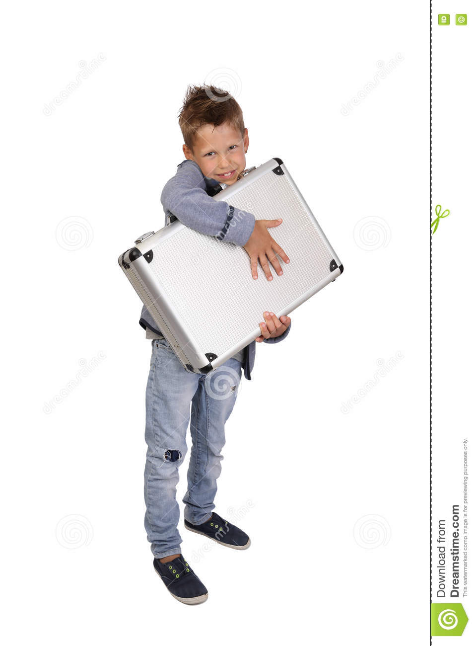 Boy with case in hands