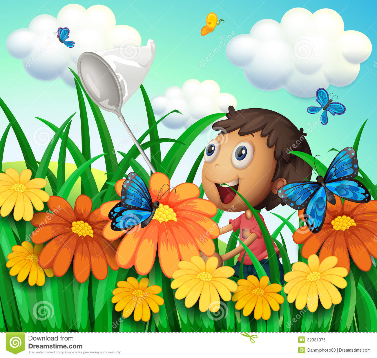 a boy catching butterflies at the flower garden royalty free stock