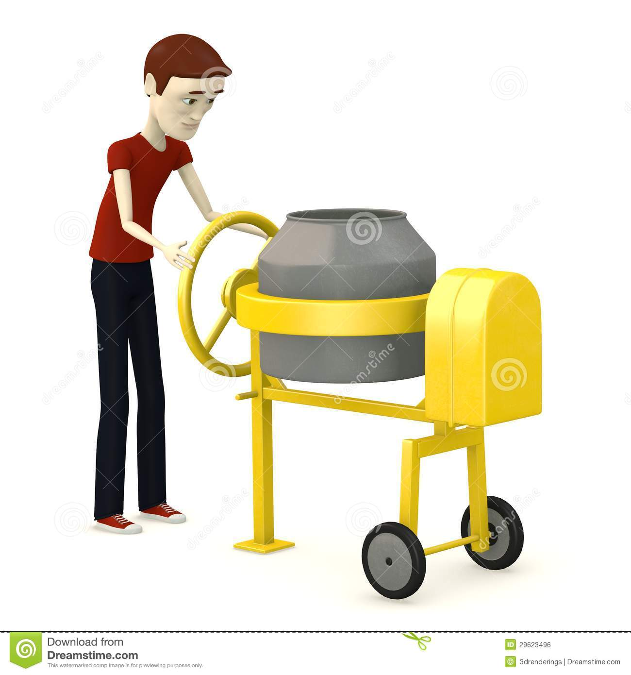 Concrete Mixing Animation : Boy with cement mixer royalty free stock image